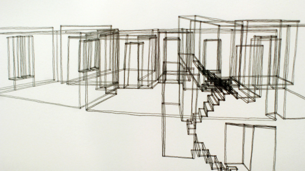 Line drawing at FUSE: The Noise of Silence at the Vancouver Art Gallery